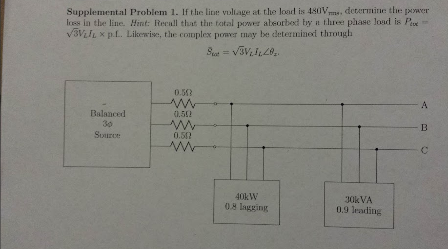 If the line voltage at the load is 480V rms, deter