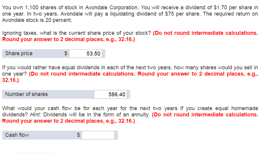 You Own 1, 100 Shares Of Stock In Avondale Corpora... | Chegg.com