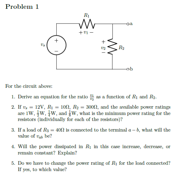For the circuit above: Derive an equation for t