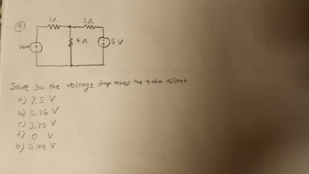 Solve for the voltage drop across the 4ohm resisto