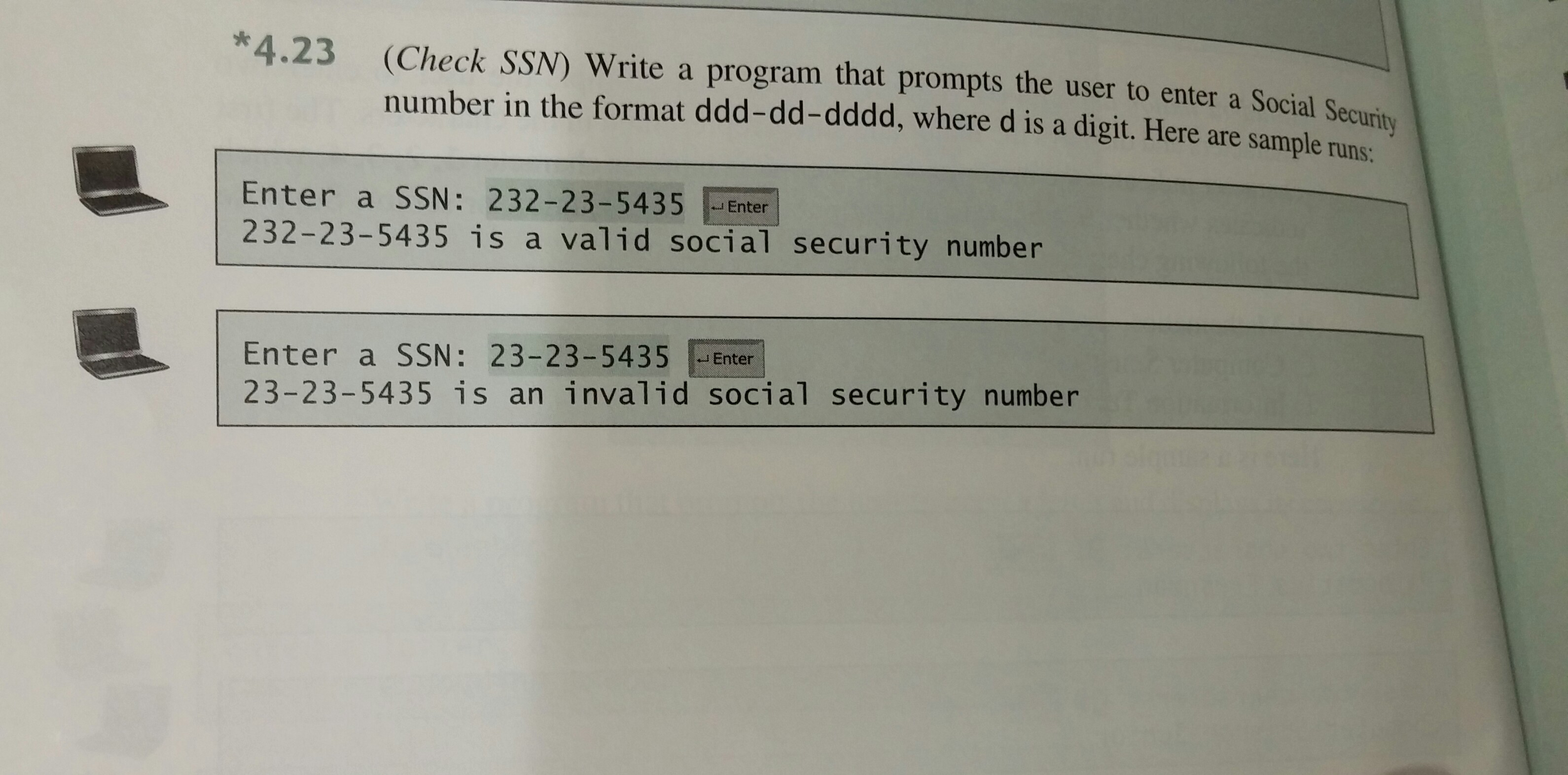 4.23 (Check SSN) Write A Program That Prompts The ... | Chegg.com
