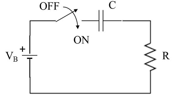 In the circuit above, VB = 40 V, R = 3 kOhm, C = 1