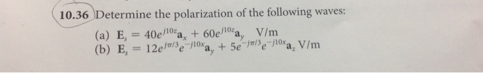 Determine the polarization of the following waves: