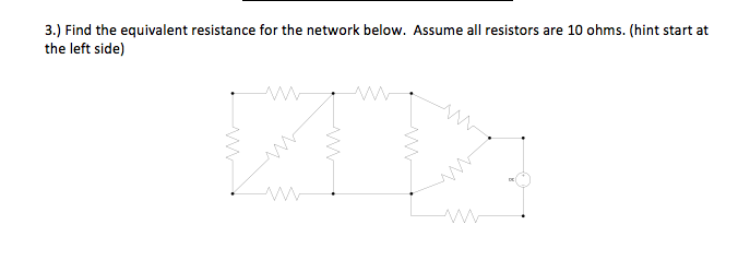 Find the equivalent resistance for the network bel