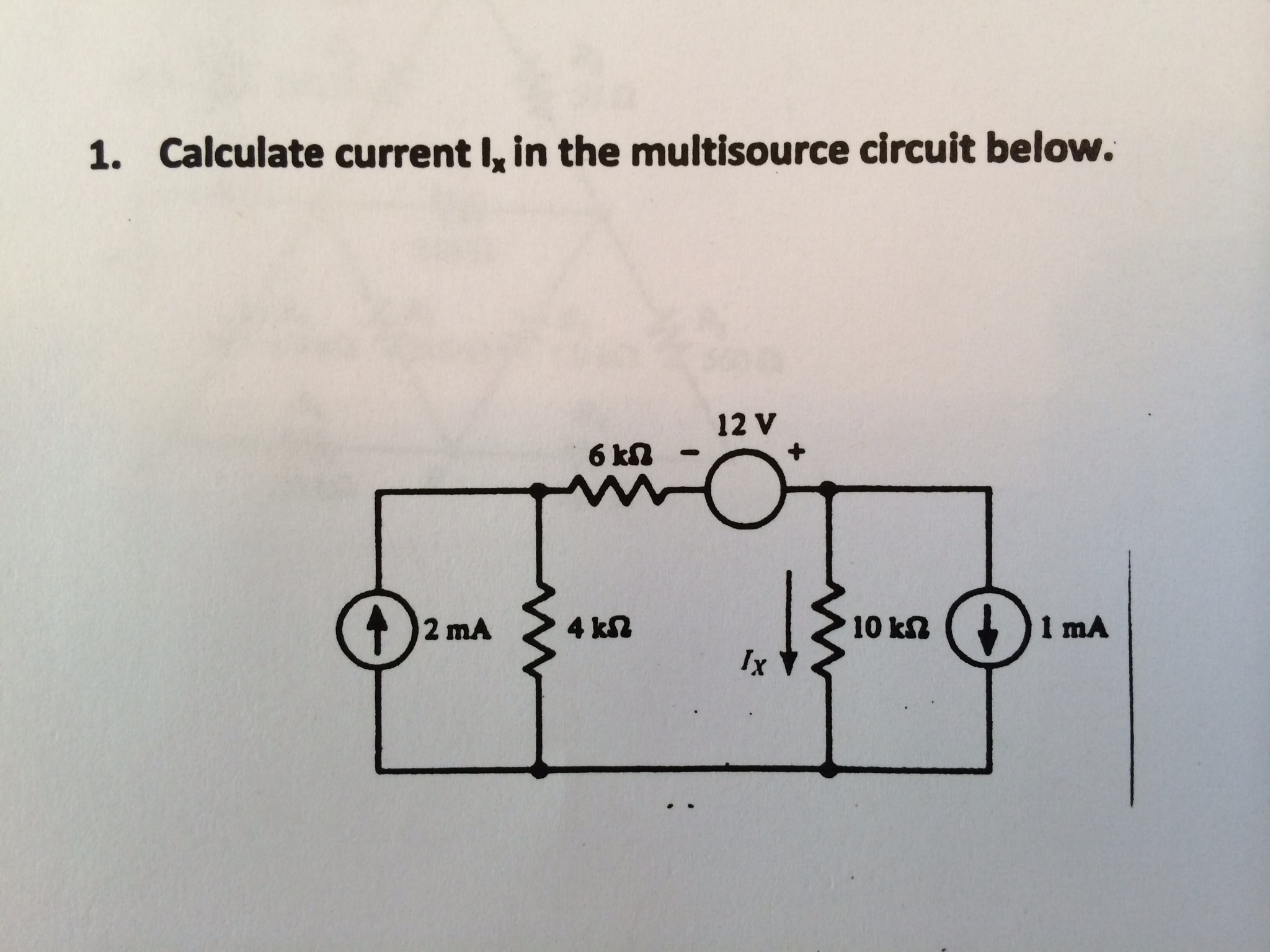 Calculate current Ix in the multisource circuit be