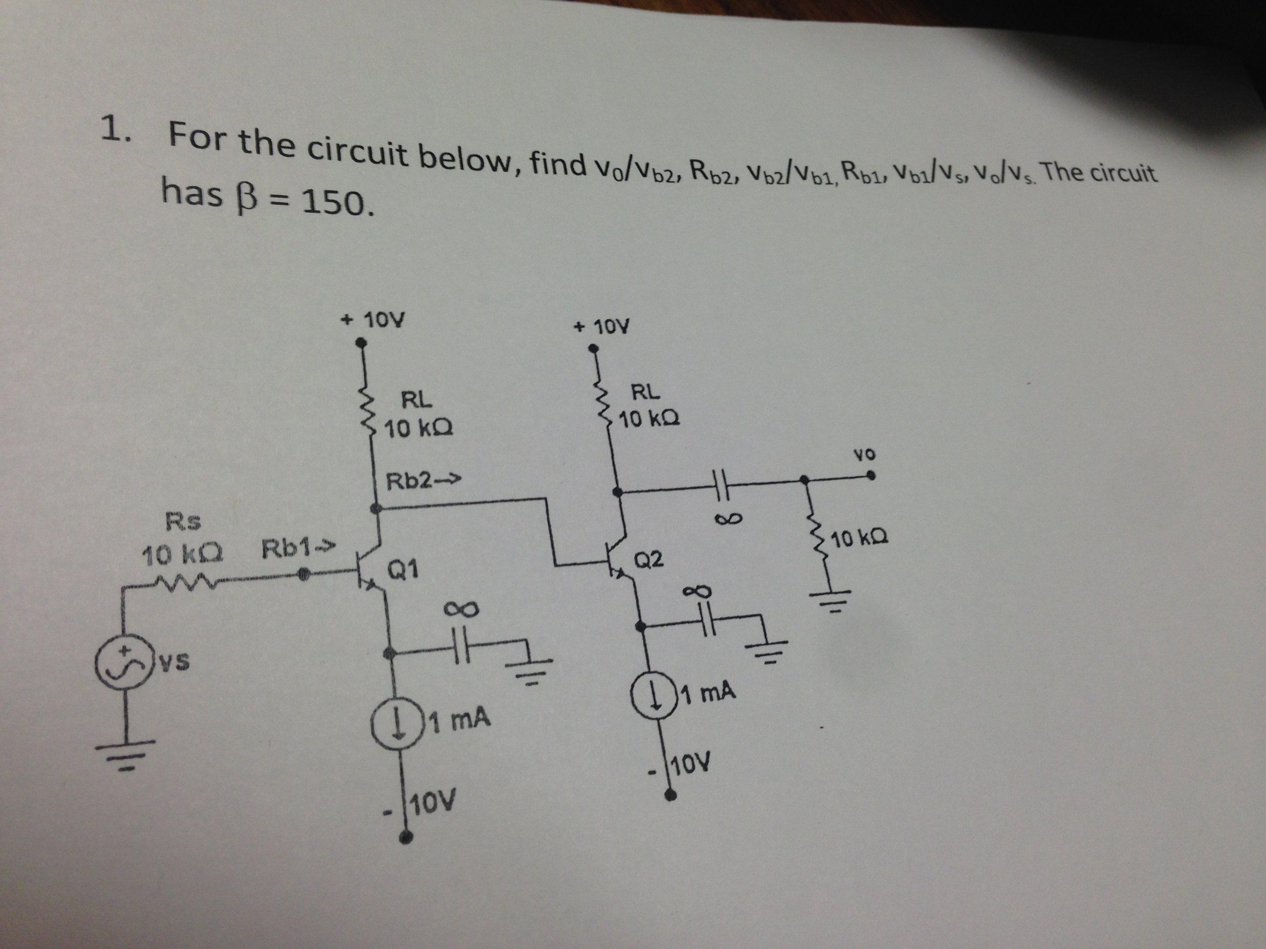 For the circuit below, find v0/vb2, Rb2, Vb2/Vb1,