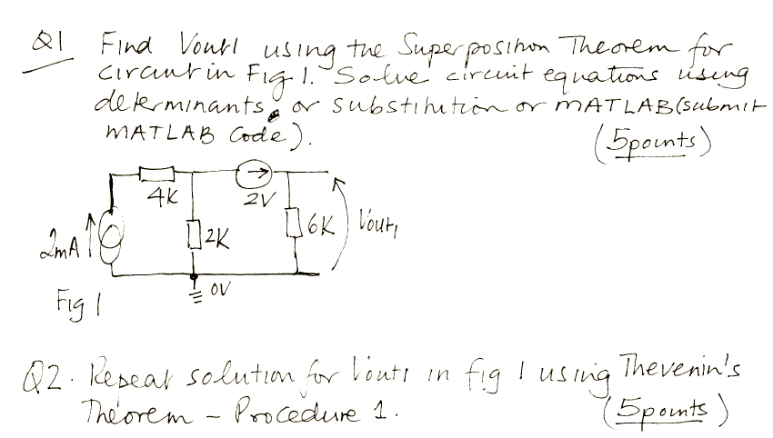 Find Vout1 using the Superposition Theorem for cir