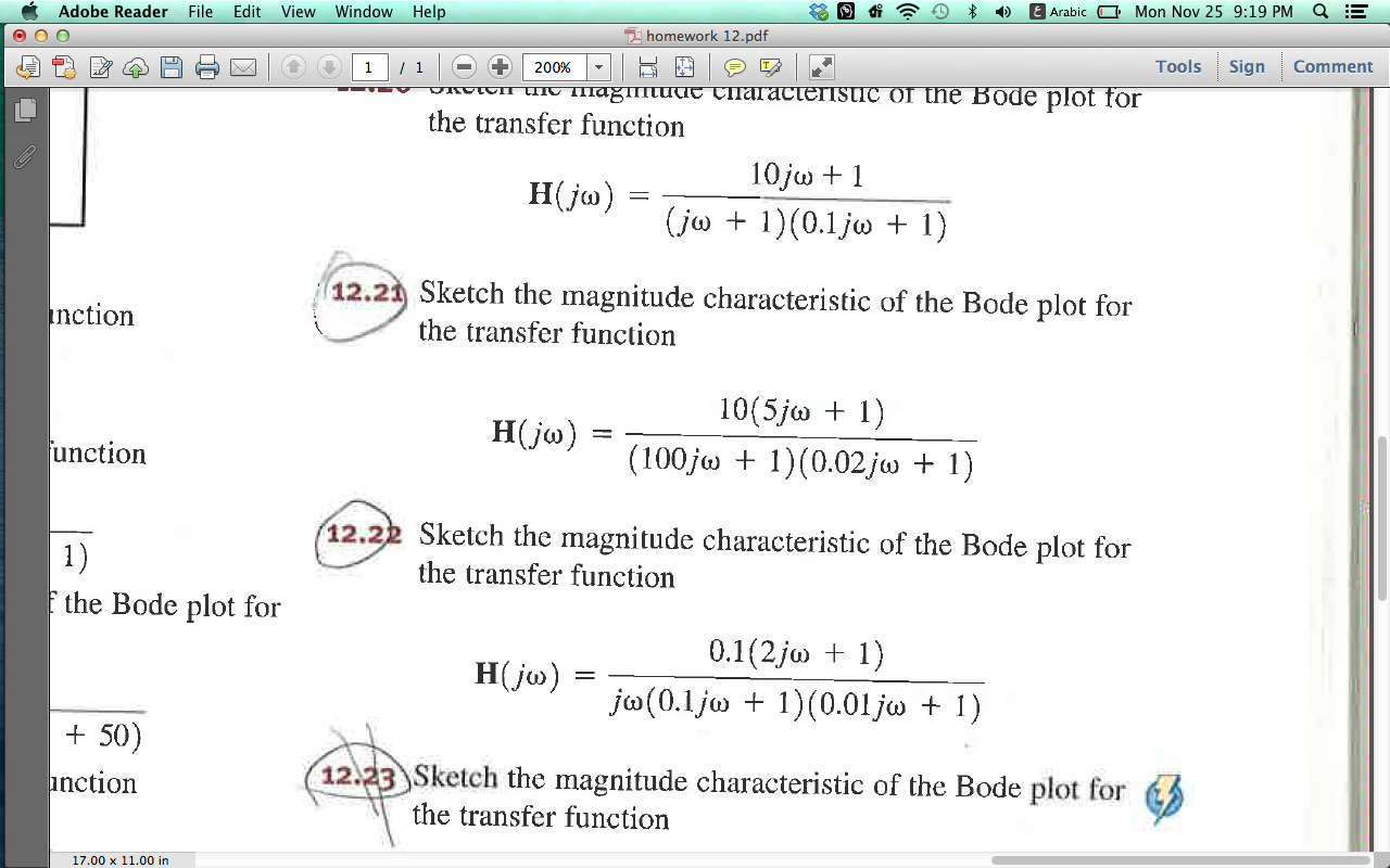 Sketch the magnitude characteristics of the Bode p