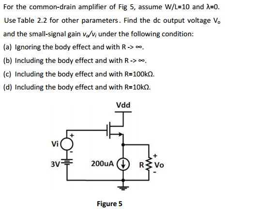 For the common-drain amplifier of Fig 5, assume W/