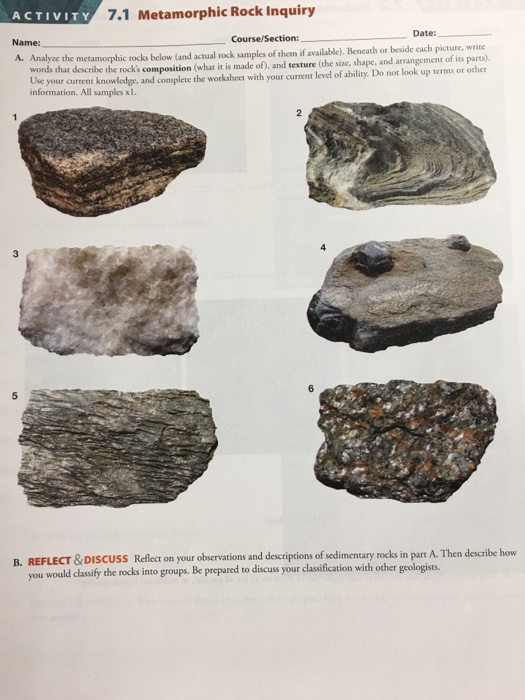 Solved 71 Metamorphic Rock Inquiry Activity Date Course