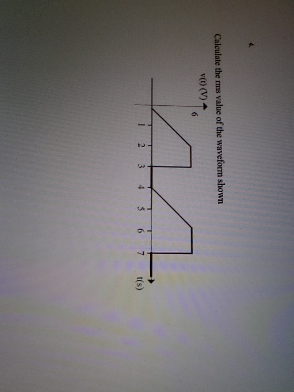 Calculate the rms value of the waveform shown