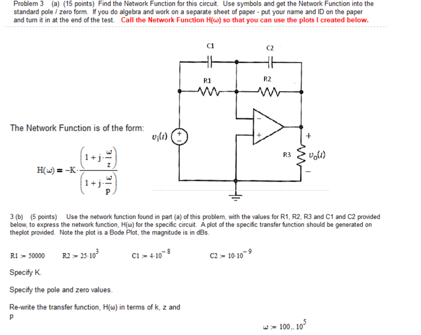 Solved: Find The Network Function For This Circuit. Use Sy ...