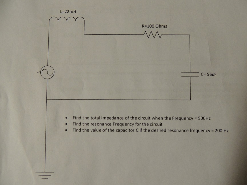 Find the total impedance of the circuit when the f