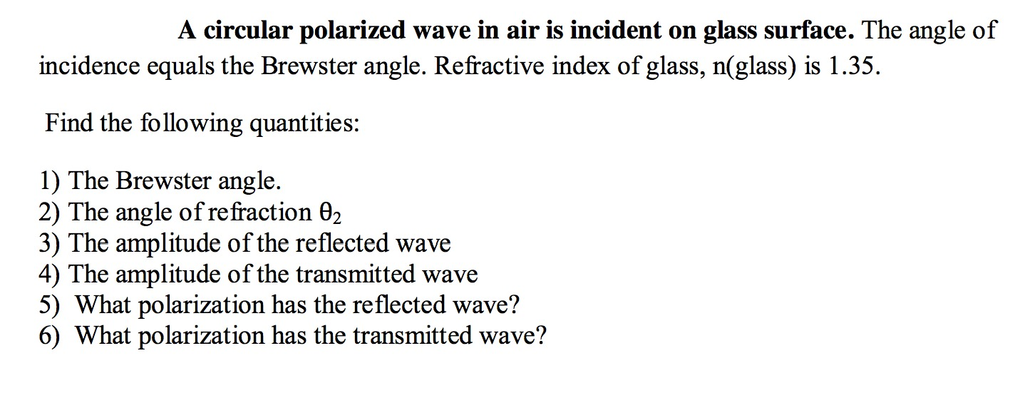 A circular polarized wave in air is incident on gl