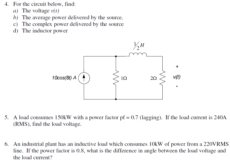 For the circuit below, find: The voltage v(t) Th