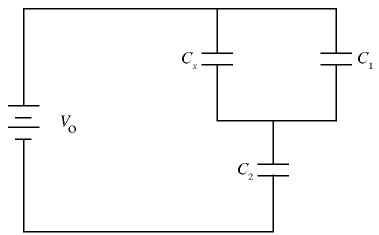 In the circuit sketched in Fig., C1 = 6.7 times 10