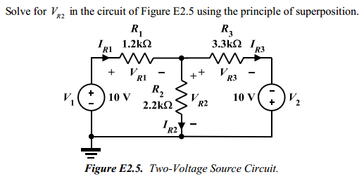 Solve for VS2 in the circuit of Figure E2.5 using