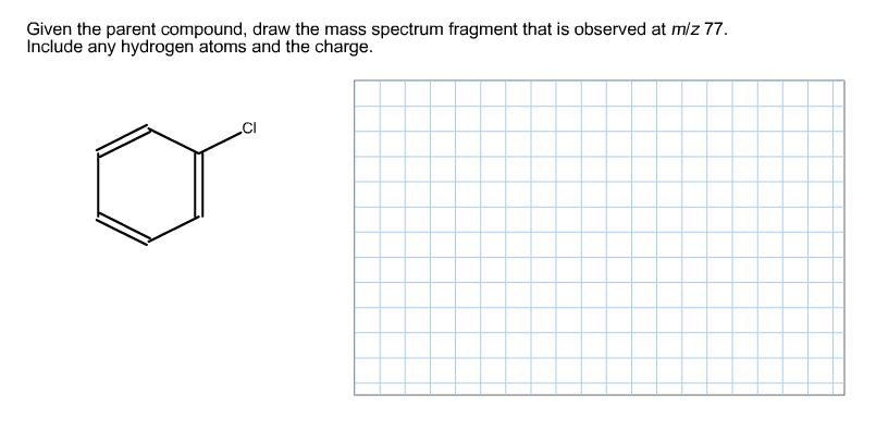 Given the parent compound, draw the mass spectrum