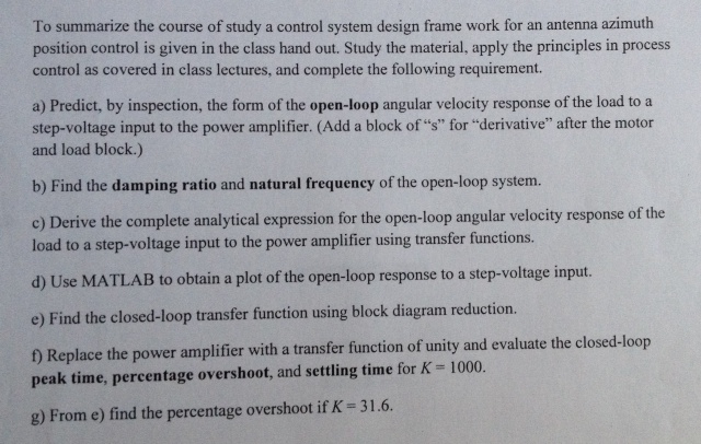 To summarize the course of study a control system