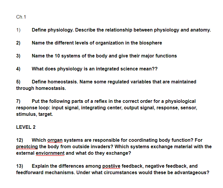 Solved Ch1 1 Define Physiology Describe The Relationsh