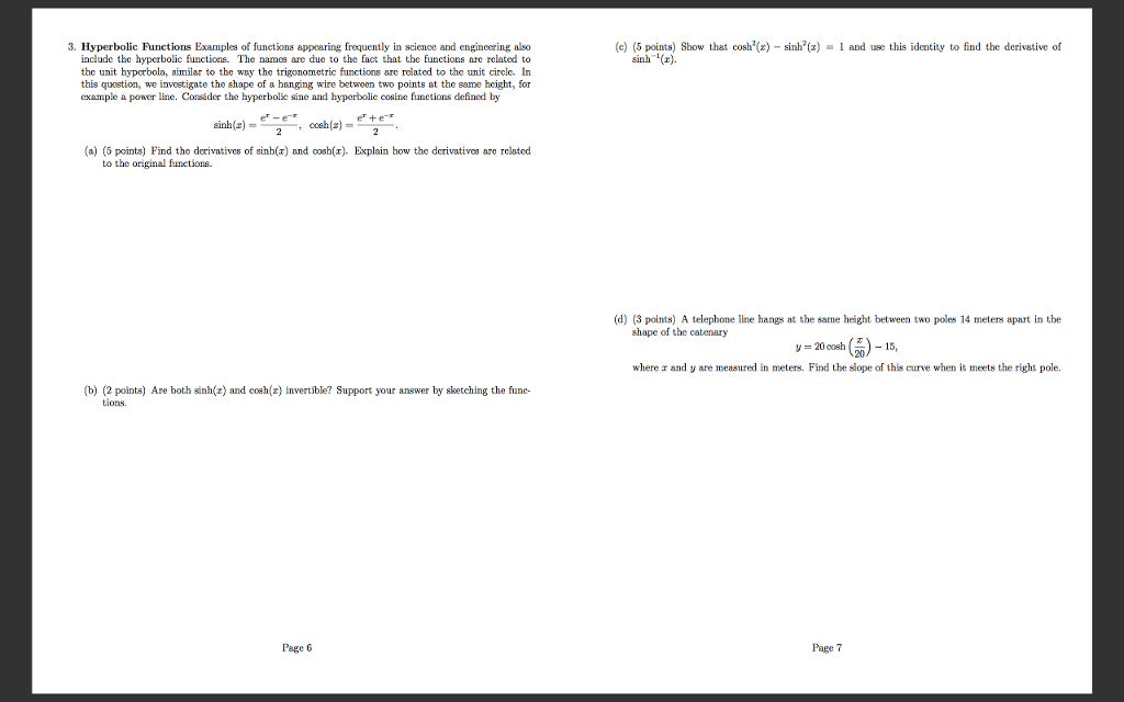 Solved Hyperbolic Functions Examples Of Functions Appeari