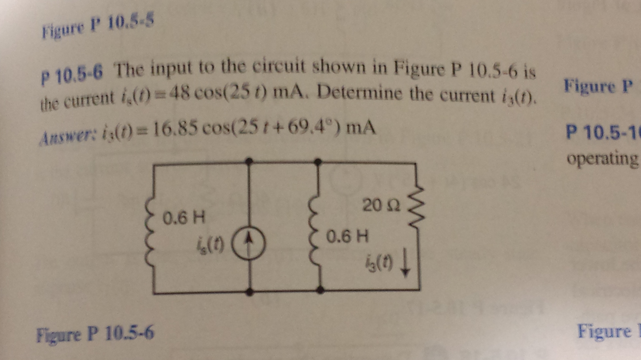 The input to the circuit shown in Figure p 10.5-6