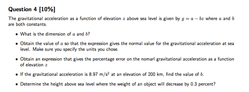 The Gravitational Acceleration As A Function Of El Cheggcom - Find elevation above sea level