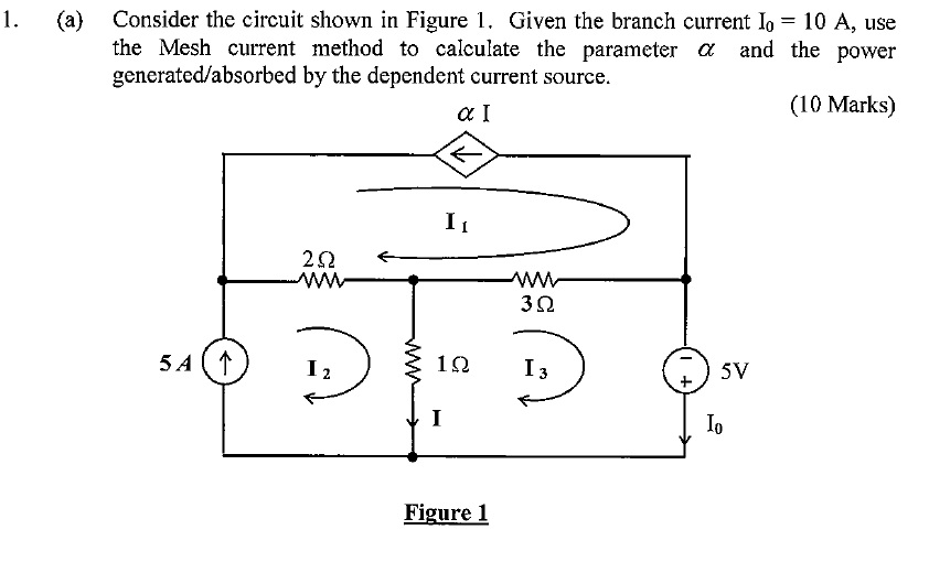 Consider the circuit shown in Figure 1. Given the