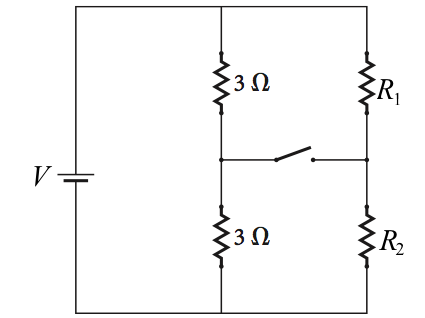 In this circuit the emf is V = 21.3 V, and the r