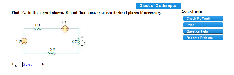 Find Vx in the circuit shown. Round final answer t