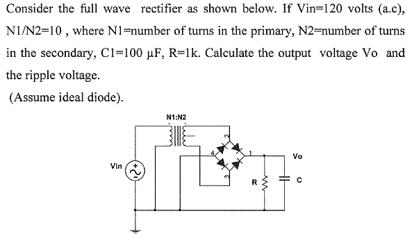 Consider the full wave rectifier as shown below. I