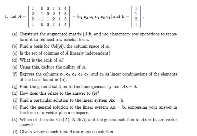 1 0011 4] A-12-1 1 2 1 3|-[c1 C2 C3 C4 C5 C6] And ... | Chegg.com