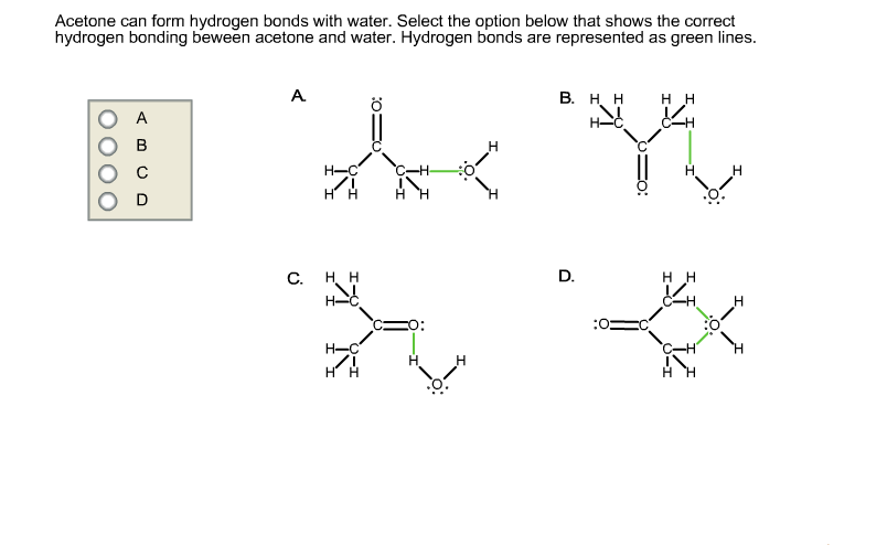 Acetone Can Form Hydrogen Bonds With Water. Select... | Chegg.com