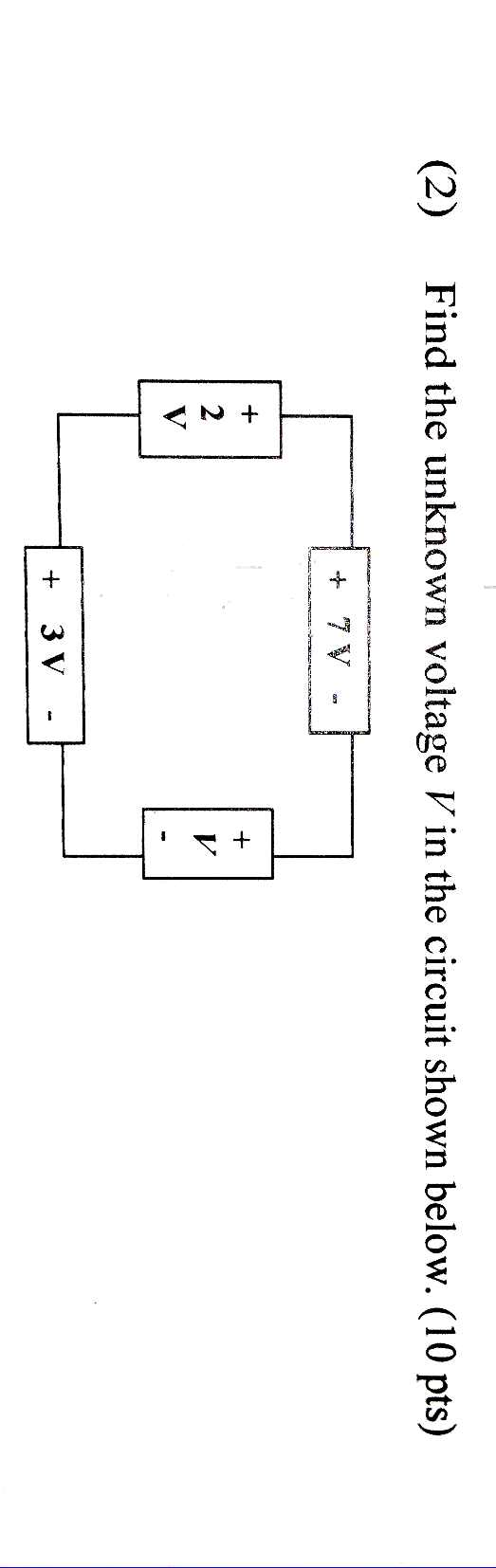 Find the unknown voltage V in the circuit shown be