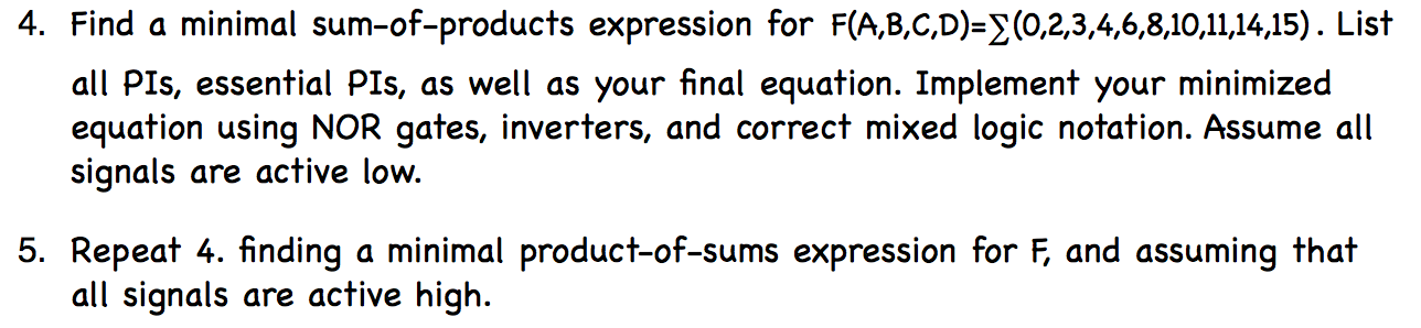 Find a minimal sum-of-products expression for F(A,