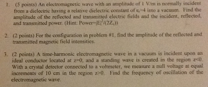 An electromagnetic wave will) an amplitude of 1 V