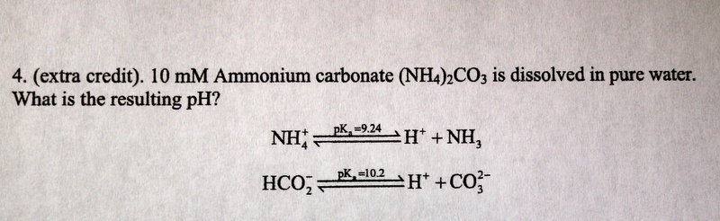 10 mM Ammonium carbonate (NH4)CO3 is dissolved in