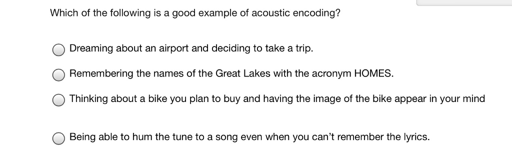 Solved Which Of The Following Is A Good Example Of Acoust