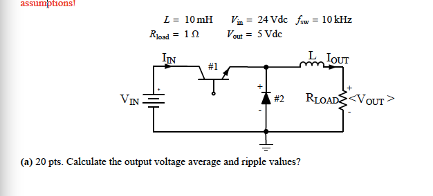 Calculate the output voltage average and ripple va