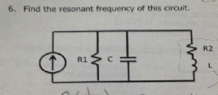 Find the resonant frequency of this circuit.