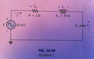 For the series circuit in Fig. 20.49:a. Find the v