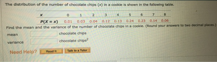 The distribution of the number of chocolate chips