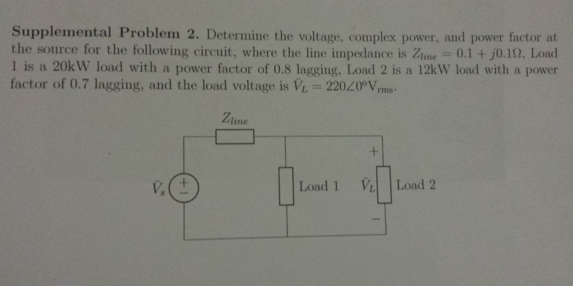 Supplemental Problem 2. Determine the voltage, com