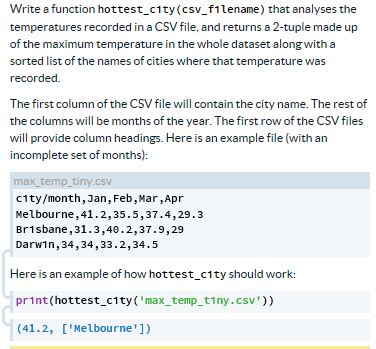 Solved: Write A Function Hottest_city (csv_filename) That ...