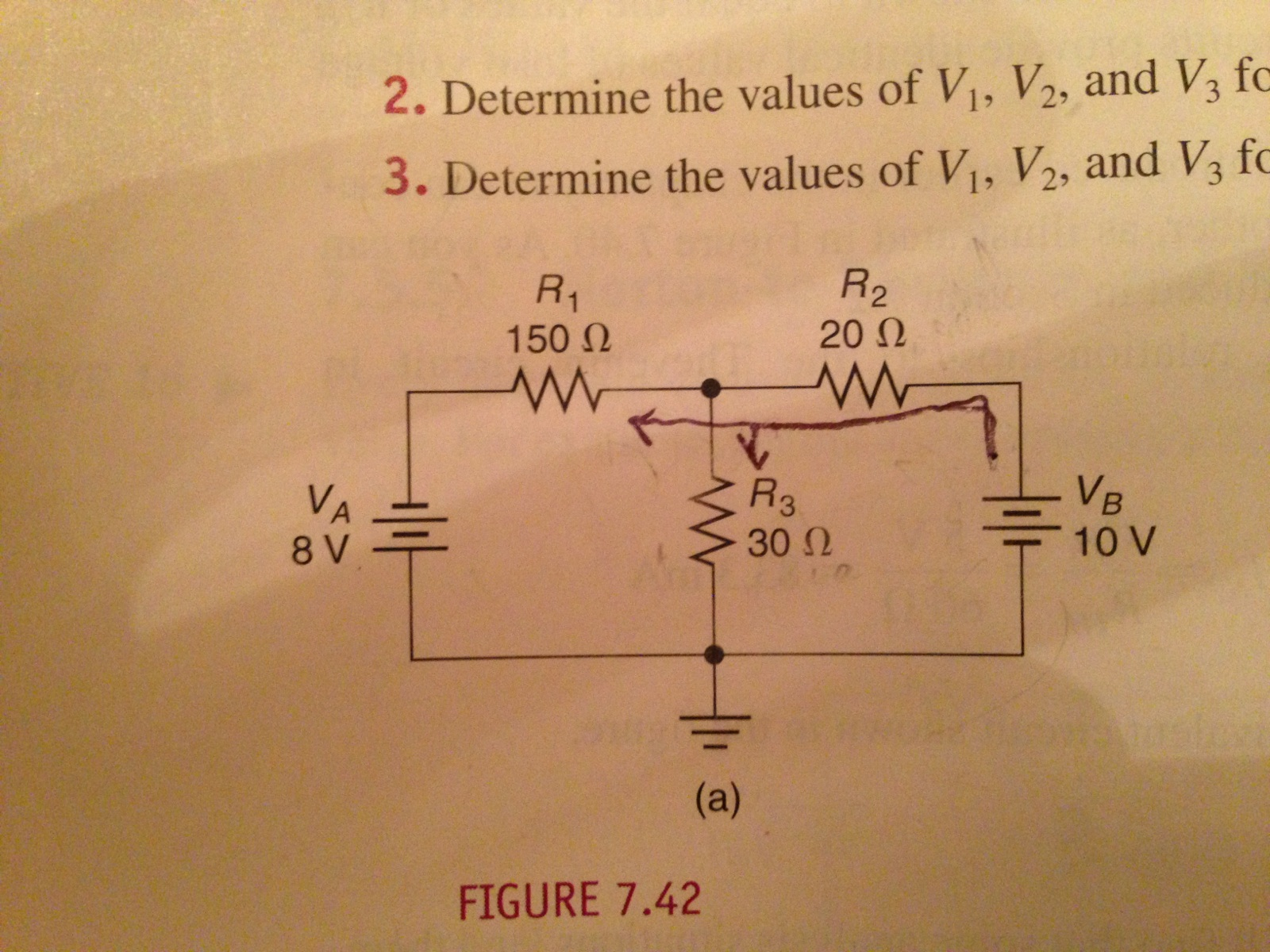 Determine the values of V1, V2, and V3 for the cir