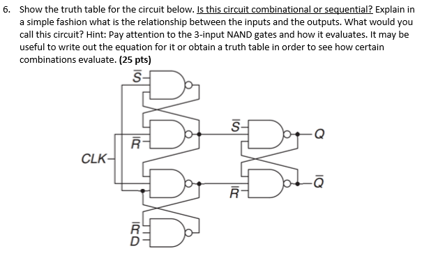 Solved: 6. Show The Truth Table For The Circuit Below. Is ...
