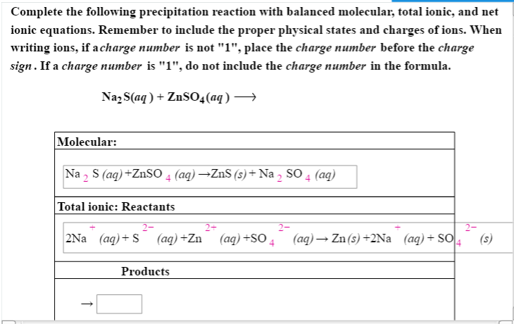 solved  complete the following precipitation reaction with