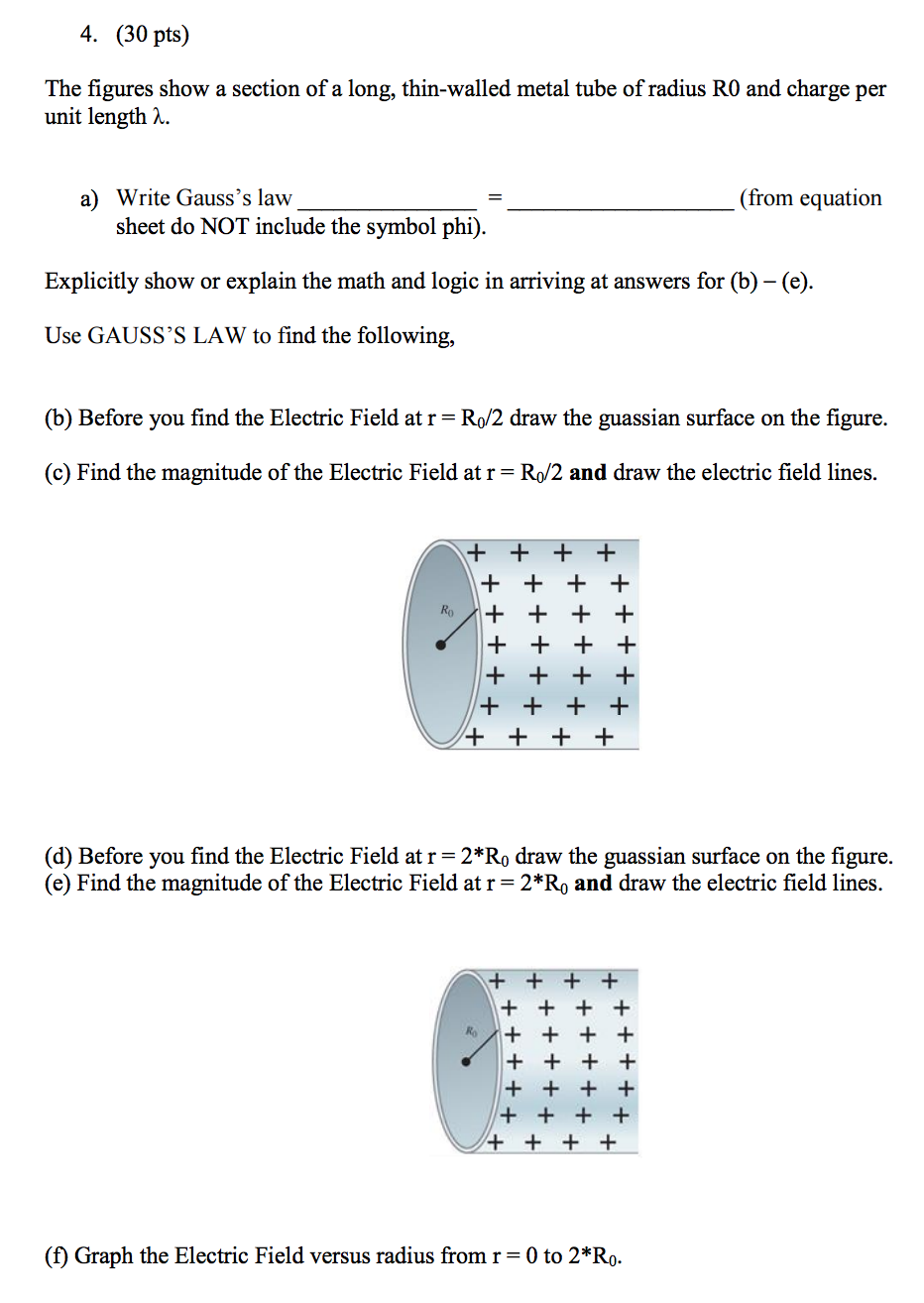 Solved the figures show a section of a long thin walled question the figures show a section of a long thin walled metal tube of radius r0 and charge per unit len biocorpaavc Images