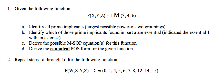 Given the following function: F(X,Y,Z) = IIM(3,4,