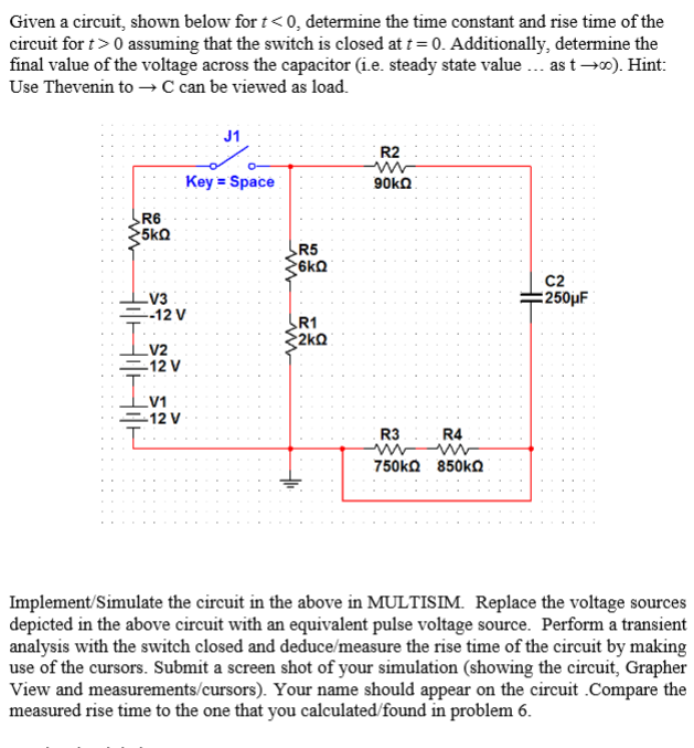 Given a circuit, shown below for t < 0. determine